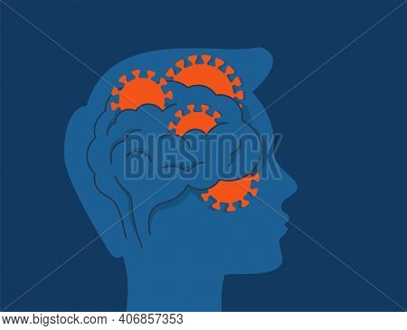 Covid-19 Coronavirus Affect The Brain. Human Head Profile With Viruses Inside A Brain. Vector Illust