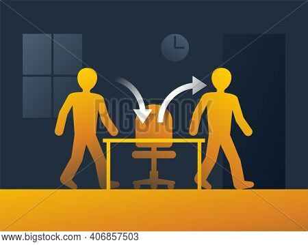 Employee Turnover In Human Resources Banner - Act Of Replacing A Worker With A New One, That Measure