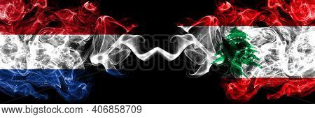Netherlands Vs Lebanon, Lebanese Smoky Mystic Flags Placed Side By Side. Thick Colored Silky Abstrac