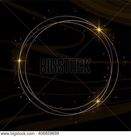 Shiny Golden Frame With Sparkles Black Background Design