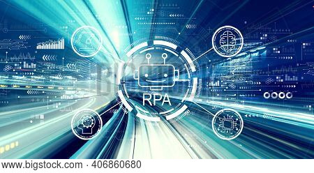 Robotic Process Automation Rpa Theme With Abstract High Speed Technology Pov Motion Blur