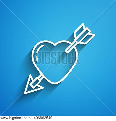 White Line Amour Symbol With Heart And Arrow Icon Isolated On Blue Background. Love Sign. Valentines