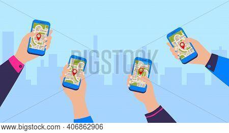Gps Navigation App. Mobile Navigational Application. Cartoon Hands Holding Smartphones On Cityscape