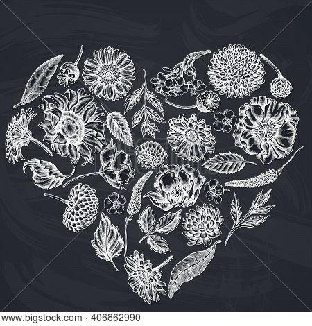 Heart Floral Design With Chalk Poppy Flower, Gerbera, Sunflower, Milkweed, Dahlia, Veronica Stock Il