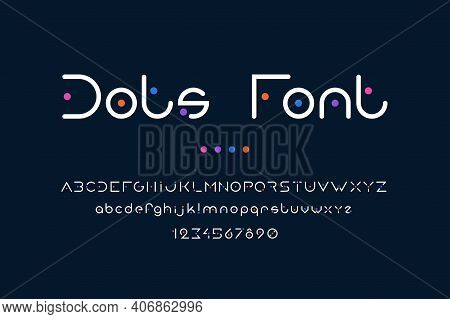 Dots Font. Abstract Alphabet With Uppercase Or Lowercase Letters For Logo And Poster Headers. Collec