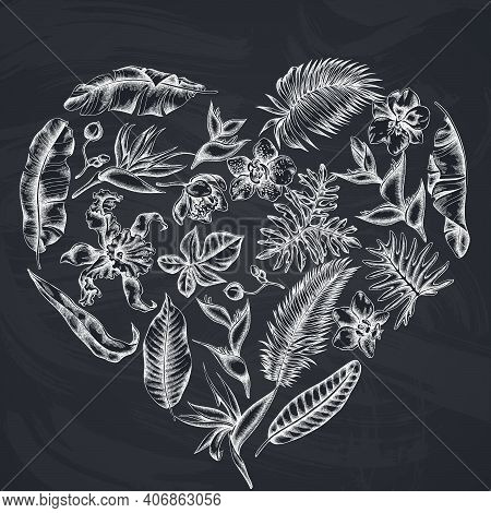 Heart Floral Design With Chalk Monstera, Banana Palm Leaves, Strelitzia, Heliconia, Tropical Palm Le