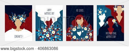 Abstract Woman Poster. Greeting Cards For Womans Day. Minimal Young Female Silhouettes, Cute Girls W