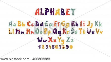 Bubble Font. Colorful Kids Alphabet With Balloon Or Candy Shape. Typographic Uppercase Or Lowercase