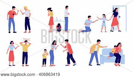 Abuse. Family Conflict With Angry Screaming Parents And Crying Children, Domestic Violence Between W