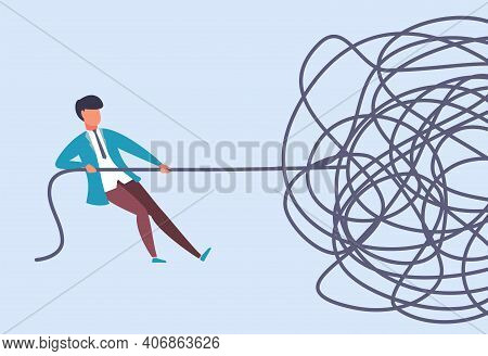Businessman Pulls Rope. Complex Problem Solving Concept. Rationally Find Start At Challenge Analysis
