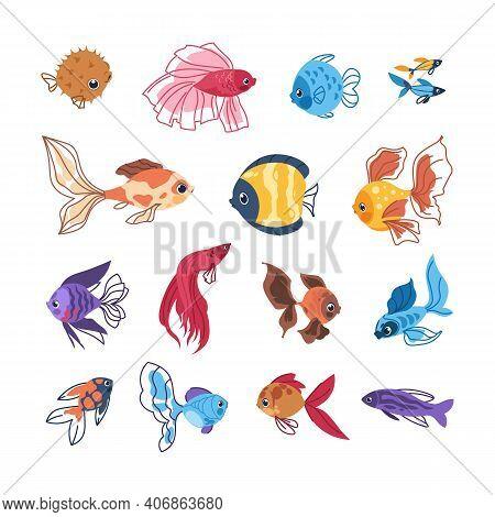 Cartoon Fish. Colorful Sea Animals. Hand Drawn Clipart Of Tropical Marine Underwater Inhabitants. Is