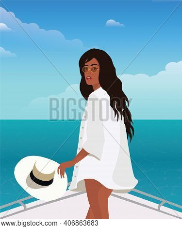 Digital Illustration Of A Beautiful Tanned Girl Model On A Trip On A Yacht Posing In A Shirt With A