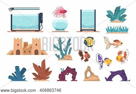 Aquarium Elements. Cartoon Full Of Water Glass Tank For Fish And Underwater Plants, Stones And Seawe