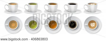 Cups Of Coffee. Realistic 3d Mockup Of Full Ceramic Mugs. White Porcelain Tableware With Americano A