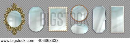Realistic Mirrors. 3d Round And Rectangular Reflective Surfaces. Modern Or Classic And Decorative Vi