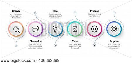 Flow Infographic. Step Timeline Diagram, Workflow Process Scheme. Colorful Flowchart Sequence Templa