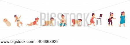 Baby Girl. Cute Little Kid Growing Up Process, Stages Of Human Development From Newborn To Walking C