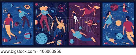 Abstract Cosmos Posters. People Float In Outer Space With Zero Gravity. Cute Men And Women Fly Aroun