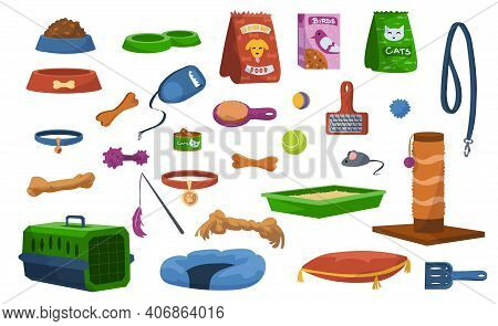Cartoon Pet Toys. Assortment Of Veterinary Store, Products For Dogs Or Cats. Collection Of Food Bowl