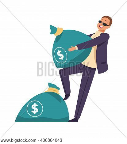 Millionaire With Bag Of Cash. Cartoon Man Carries Sack Full Of Money. Happy Successful Businessman.