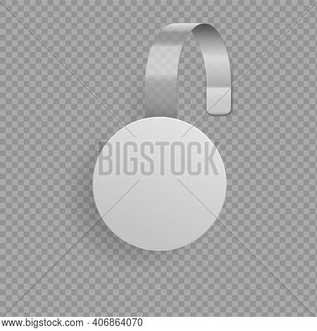 Wobbler Template. Blank Round Paper Tag Hanging On Glued Bended Plastic Stripe. 3d Promotional Stick