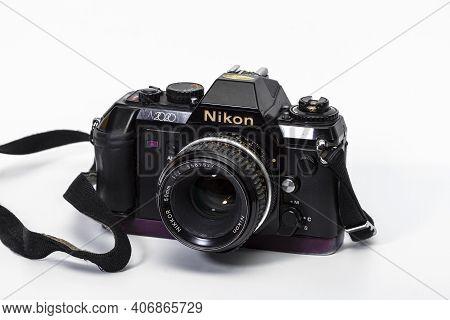 Israel. Rishon Lezion 02.06.2021. Film Camera Nikon N2020 On A Light Background.