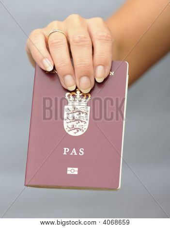 Pasport In Womans Hand