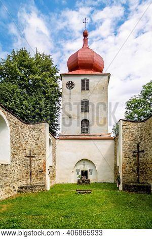 Vysoka, Czech Republic - July 6 2018: Interior Of The Preserved Ruin Of The Church Of John The Bapti