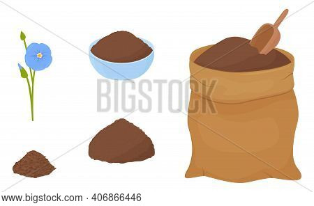 Flax Flour Heap In Blue Bowl And Brown Fabric Bag Isolated On White Background. Healthy Eating Natur