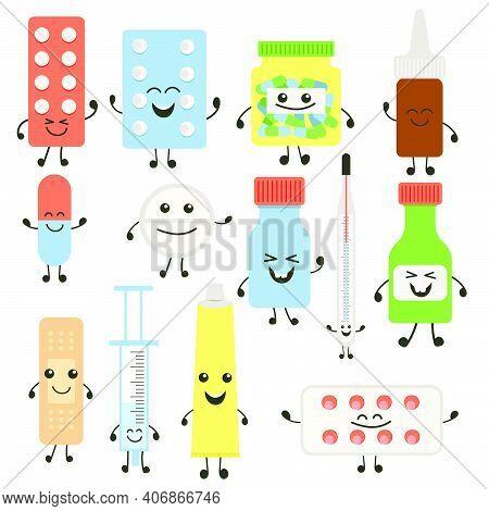 Funny Medicine Pills Character Set. Humor Medical Emoticons Pills Collection. Cartoon Work Emoji Cha