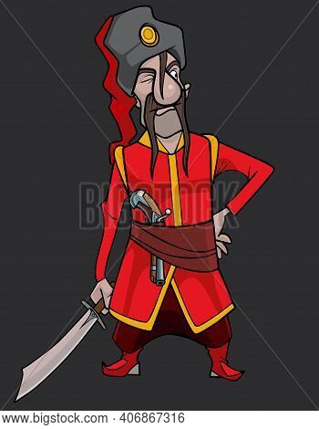 Cartoon Man In Red Traditional Clothes Of The Kuban Cossack With A Saber In His Hand