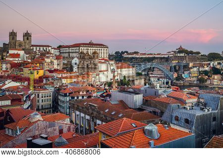 Skyline Of Porto With Porto Cathedral In Portugal