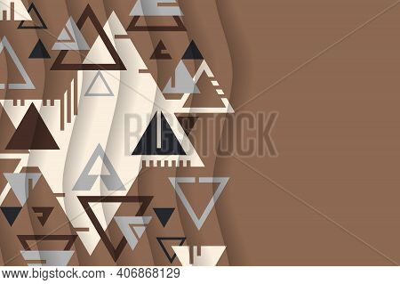 Abstract Background From Geometric Shapes And Triangles. Stylization For Folk Art. Wallpaper With Co