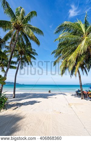 Coconut Palm Trees And Turquoise Sea In Phuket Patong Beach. Summer Nature Vacation And Tropical Bea
