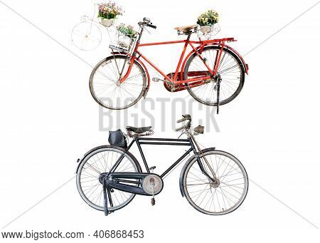 Old Retro Red Bicycle With Flowers Bouquet In Basket And Bicycle Black Classic Vintage Style Isolate