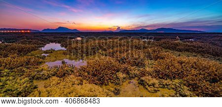 Panorama Beautiful Sunset Or Sunrise Seascape Amazing Cloud At Sunrise Light Above The Coral Reef In