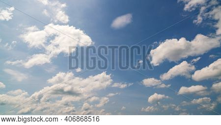 Blue Sky Background With Clouds Natural Background Summer And Travel Background.