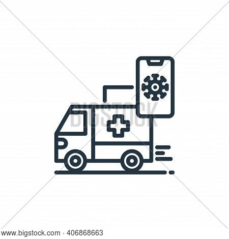 ambulance icon isolated on white background from virus collection. ambulance icon thin line outline