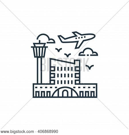airport icon isolated on white background from tourism collection. airport icon thin line outline li