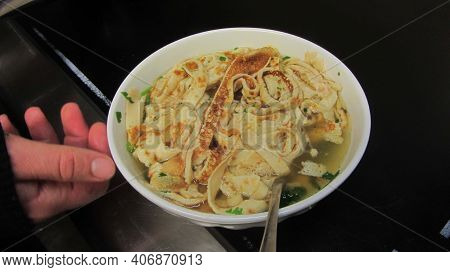 Frittata Soup, Clear Soup With Strips Of Pancake
