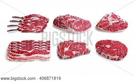 Set Of Fresh Meat In A Realistic Style. Food 3d Vector Isolated Objects. Gastronomic Products