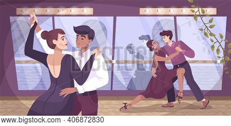 Dancer Ballroom Flat Composition With Pair Of Dancers Couple In Training Room With Lights And Mirror