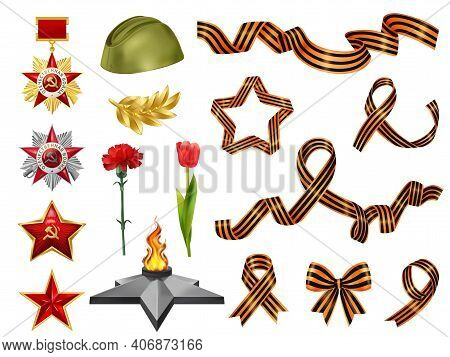 Set Of Isolated Realistic Victory Day May 9 Set With Soviet Military Medals Saint George Ribbons Vec