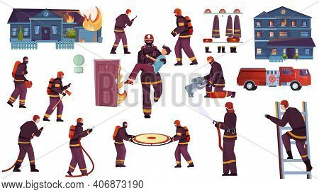 Firefighters Set With Flat Isolated Icons Characters Of Firefighting Crew Members With Vehicles Tool