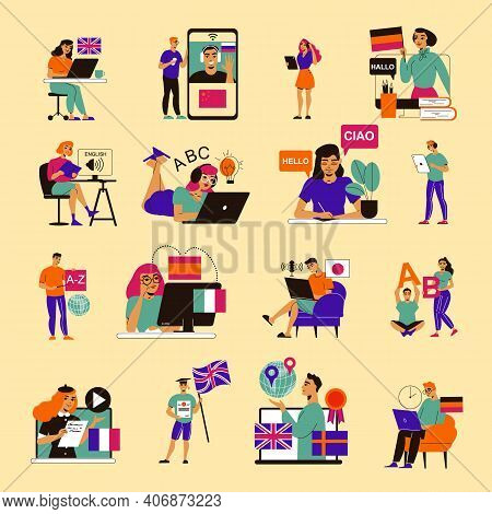Language Course Color Set Of Isolated Doodle People With Remote Tutors On Gadgets And Desktop Comput