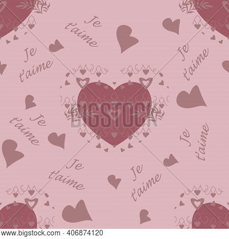 Seamless Pattern For Valentine's Day, Declaration Of Love With Little Hearts And Text In French Lang