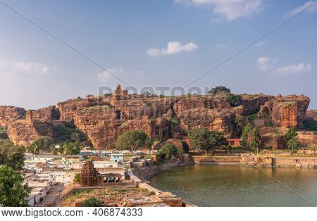 Badami, Karnataka, India - November 7, 2013: Cave Temples Above Agasthya Lake. Yallamma Temple In Fr