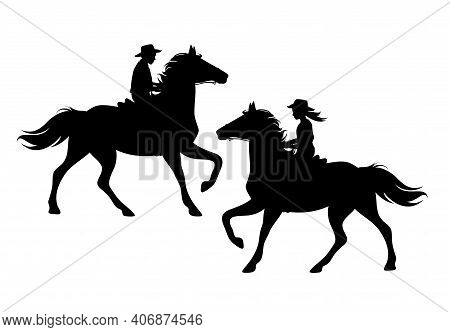 Boy And Girl Wearing Cowboy Hats Riding Running Horses - Ranch Kids Black And White Vector Silhouett