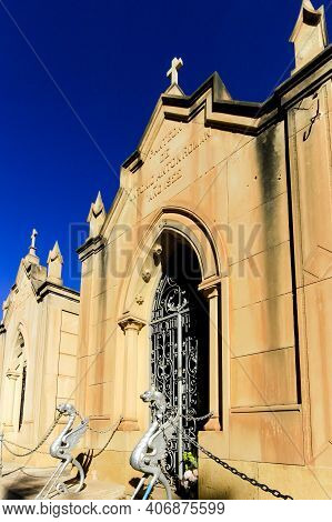 Elche, Spain- January 26, 2021: Beautiful And Colossal Mausoleum In The Old Cemetery Of Elche Integr