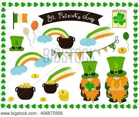 Separate Elements For St. Patrick's Day, Ptrick The Leprechaun, Green Top Hat, Irish Flag, Irish Fla